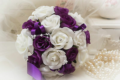 £16.99 • Buy Wedding Flowers  Bridesmaid Bouquet In Cadburys Purple