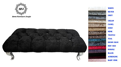 New Padded Hallway End Of Bed Bench Dfs Style Crushed Velvet Stool 15 Colours • 79.95£