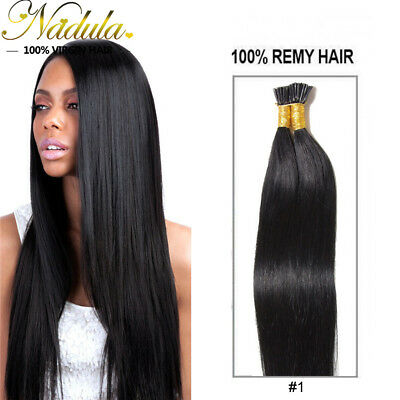 $29.29 • Buy Nadula 100s Pre Bonded Keratin Stick I Tip Hair Remy Real Human Hair Jet Black
