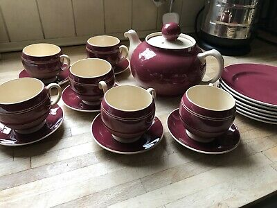 T G GREEN POLO SET Very Rare Teapot Cups Saucers Side Plates 1920's Cornishware • 70£