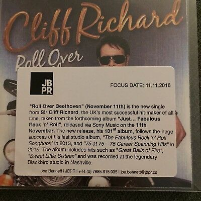 £4.99 • Buy Cliff Richard 'Roll Over Beethoven' Mint Sony 1 Track Promo CD & Press Sticker