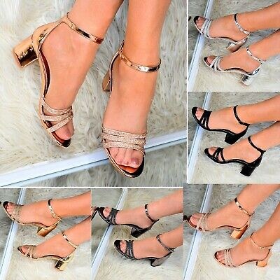 £19.95 • Buy Ladies Womens Low Block Heel Sandals Ankle Strap Open Toe Bridesmaid Party Shoes