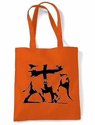 BANKSY HEAVY WEAPONRY SHOULDER  SHOPPING BAG - Choice Of Colours • 6.50£