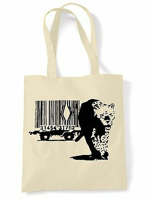 BANKSY BARCODE LEOPARD ECO TOTE  SHOPPING  SHOULDER BAG - Choice Of 6 Colours • 6.50£
