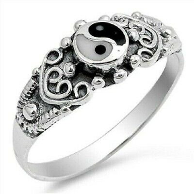 Sterling Silver Textured Yin Yang Ring - Free Gift Packaging • 11.19£