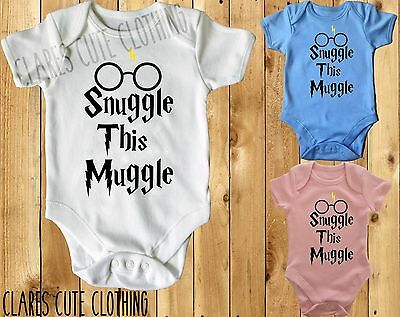 £3.99 • Buy SNUGGLE THIS MUGGLE With Glasses HARRY POTTER BABY VEST/ GROW /BODYSUIT