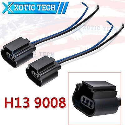 2pcs h13 9008 female harness wiring headlight bulb pigtail adapters • 8 88$
