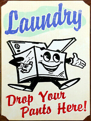 Laundry Drop Your Pants Hear, Retro Vintage Style Metal Sign/plaque Shed • 4.58£
