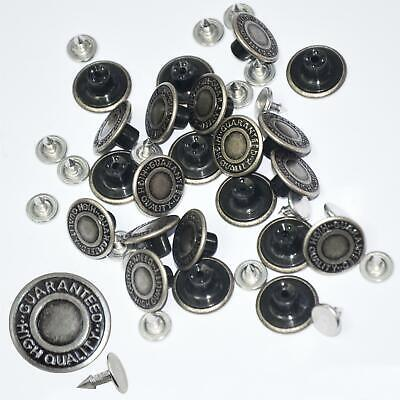 10 X 17mm Hammer On Jeans Buttons 20 Studs Metallic Silver Denim Jacket Trousers • 2.75£