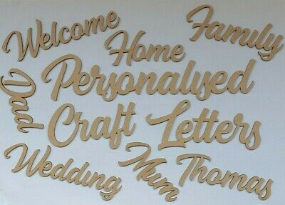 £4 • Buy Personalised Script Letters Wooden MDF Words Names  Craft Wedding Home Decor