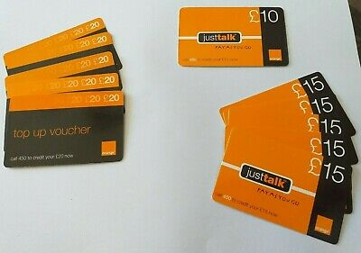 £10 • Buy Collection Of 11 Used Orange UK Pay As You Go (PAYG) Top-up Vouchers