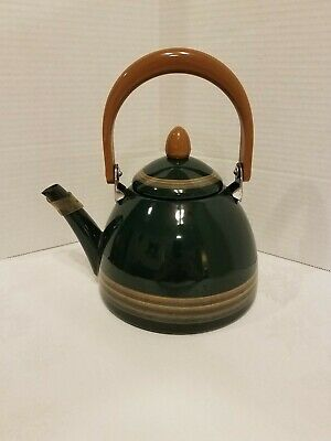 $29 • Buy Vintage Green Enamel Teapot Tea Kettle Butterscotch Handle Mid Century Modern