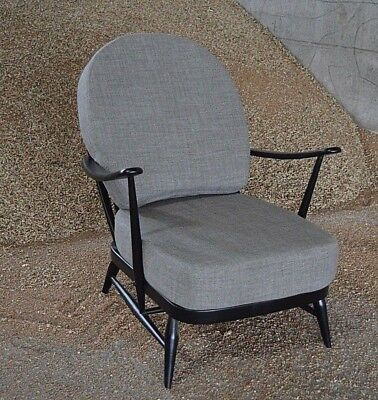 Vintage Ercol: Black 203 Windsor Armchair With New Soft Grey Cushions • 595£