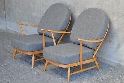 Pair Of Vintage Ercol 203 Windsor Armchairs, New Cushions & Soft Grey Covers • 1,095£