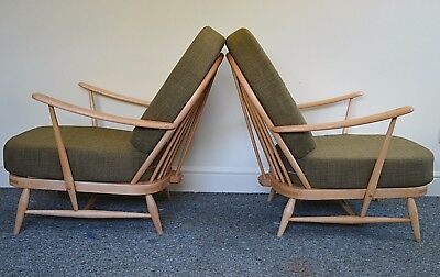 Pair Of Vintage Ercol 203 Windsor Armchairs, New Cushions & Soft Green Covers • 1,095£