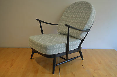 Vintage Ercol:  Black 203 Windsor Armchair With Grey/white Designer Print Covers • 695£