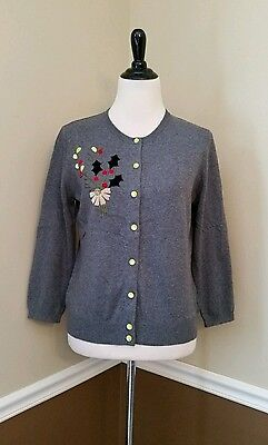 $26.99 • Buy Christmas Holly Cardigan M Holiday Gray Green Retro Modcloth $69 Anthro Style
