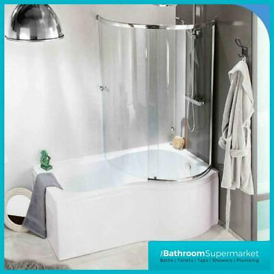 P Shape Shower Bath 1500  1700mm With Screen Left Or Right Hand Bathroom • 359£