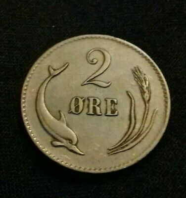 Denmark 2 Ore 1876 Cs (Very Rare Year) In Extremely Fine Condition. H49 • 185£