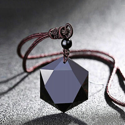 AU12.82 • Buy High Quality Black Hexagram Obsidian Pendant Necklace Sweater Chain Chocker