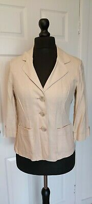 Isle Size 12 Linen Mix Jacket With Three Quarter Sleeve In Sand • 14.99£