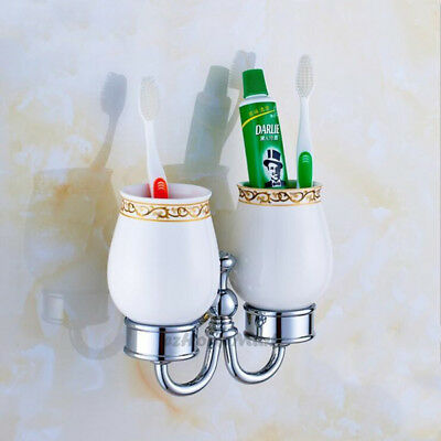 Wall Mounted Traditional Chrome Bathroom Toothbrush Holder With Two Ceramic Cup • 25£