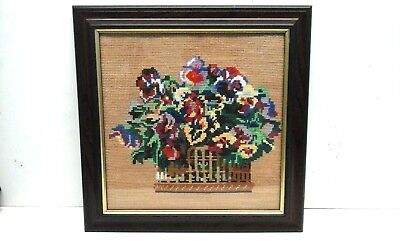 £10.95 • Buy Vintage Completed / Finished Cross Stitch / Needlepoint - Basket Of Flowers