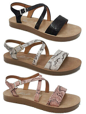 £9.99 • Buy Womens Ladies Flat Ankle Strap Summer Peeptoe Holiday Beach Sandals Size 3-8