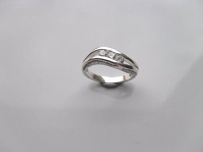 Ladies Solid Sterling Silver 925 Ring Size N With 3 X CZ Stones • 12.95£