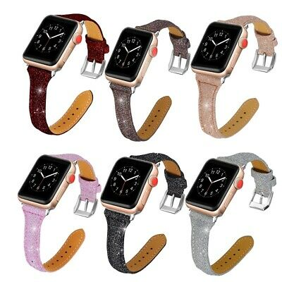 AU12.34 • Buy Genuine Leather Shiny Leather Band Strap Classic Watch Band For Apple Watch
