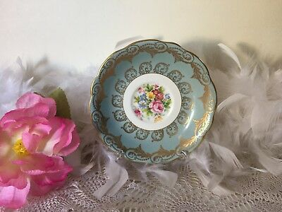 EB Foley Bone China Floral Plate With Gold Leaf Pattern, Pale Blue Orphan Saucer • 22.99£