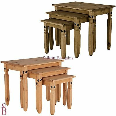 £72.99 • Buy Aruba Solid Pine Nest Of Tables - BNIB Nested Side