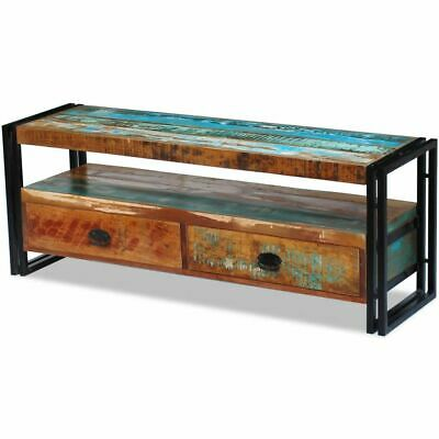 TV Cabinet Solid Reclaimed Wood 2 Drawers Display Stand Handmade House Furniture • 138.42£