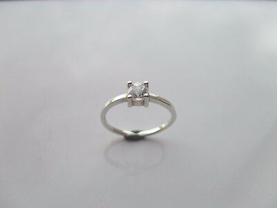 Ladies Silver 925 Ring Size Q .1/2  With Lovely 1 X Clear CZ Sparklers • 12.95£