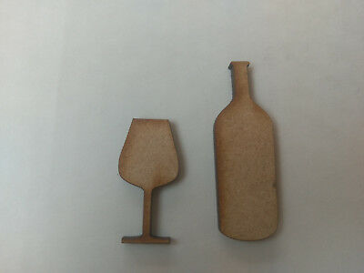 Wooden MDF Wine Bottle Glass Craft  Cards Decorations Scrapmaking Hanging  • 0.99£