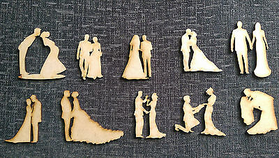 Wooden MDF Wedding Figures Embellishments Craft  Cards Table Decorations , • 0.99£