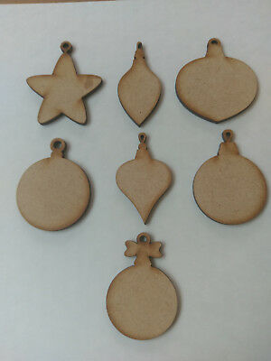 Wooden MDF Christmas Baubles Craft  Cards Decorations Scrapmaking  • 0.99£