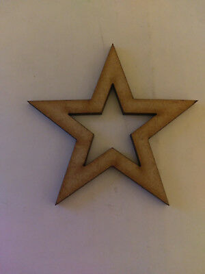 Wooden MDF 5 Point Open Star Craft  Cards Decorations Scrapmaking Hanging  • 0.99£