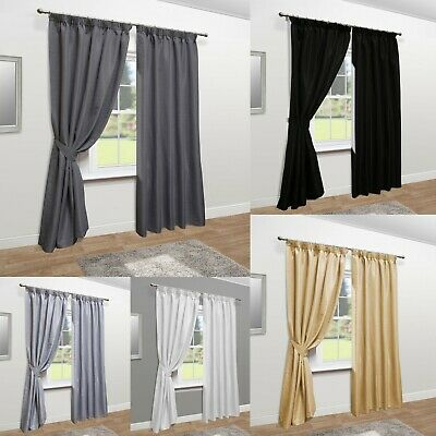 Mayfair Luxury Faux Silk Pencil Pleat Tape Top Fully Lined Curtains - Ring Top • 30.50£