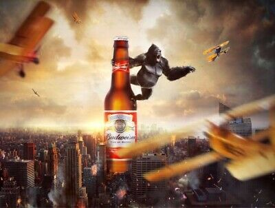 Budweiser King Kong, Retro Vintage Style Metal Sign/plaque Man Cave Shed Bar Pub • 5.15£