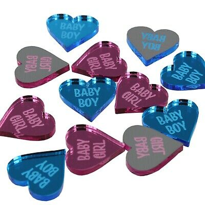 Gender Reveal Decor Baby Shower Favours Boy Girl 2cm Table Decorations 50 Hearts • 9.99£