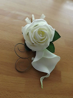 Wedding Flowers White/Ivory Calla Lily And Rose Corsage Button Pearls,satin Bow • 6.99£