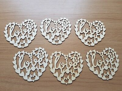 6 Pcs Wooden Hollow Love Hearts With String Wedding Party Hanging - 8cm • 4.19£
