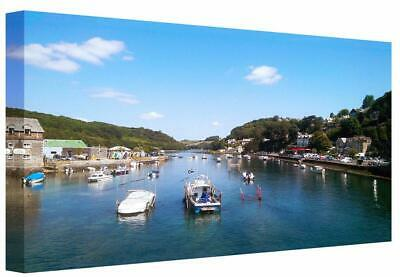 Canvas Print Wall Art Scenic Cornwall Looe River View Landscape Picture Painting • 22£