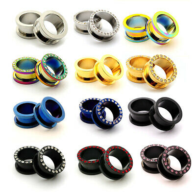 $8.99 • Buy Pair Steel Screw On Tunnels CZ Plugs Gauges Choose Size Color