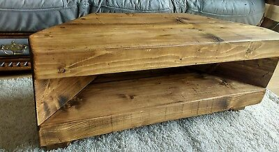 £90 • Buy Corner Rustic Pine TV Unit Solid Chunky Wood Stand/cabinet - Rustic Pine