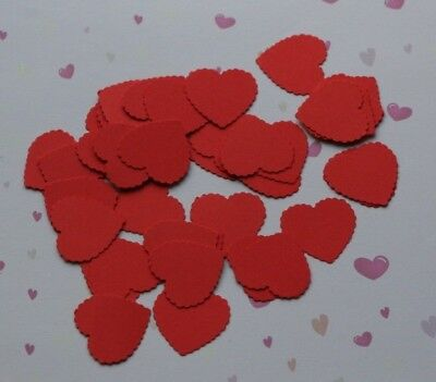 £2.95 • Buy 100 Red Scalloped Hearts Valentines Wedding Table Confetti Decorations