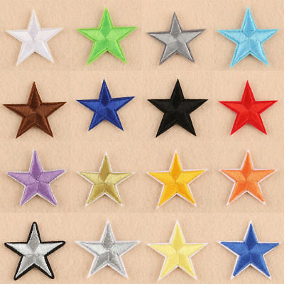 Star Iron On Badge Sew On Patch Embroidered Red Blue Black Gold Silver White • 1.49£
