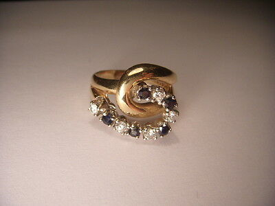 AU1760.13 • Buy Beautiful Estate 14K Yellow Gold Diamond Sapphire Swirl Ring Band
