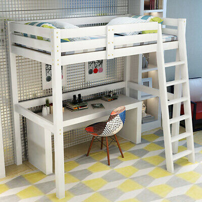 3ft Single Loft Bed High Sleeper Cabin Strong Wooden Frame Bunk Bed Kids Bedroom • 175.95£